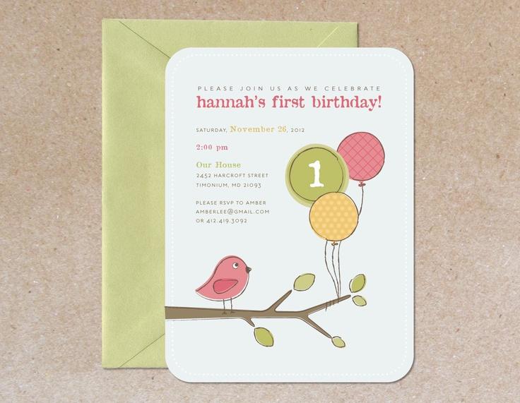 Modern Children's Birthday Party Invitation - Bird. $20.00, via Etsy.