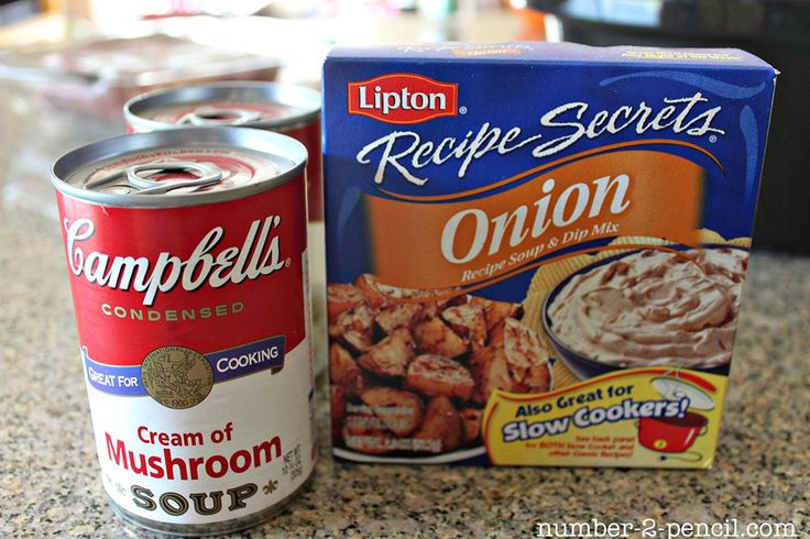 """Easy Crock Pot Pot Roast with Gravy - I generally use only the Lipton packet, but I've used the canned soup, as well. The recipe says, """"No water"""". I usually add water. I like a thinner gravy or a broth-like gravy."""