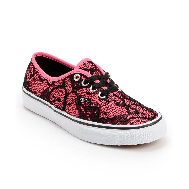 Vans Girls Authentic Neon Pink  Lace Shoe at Zumiez : PDP