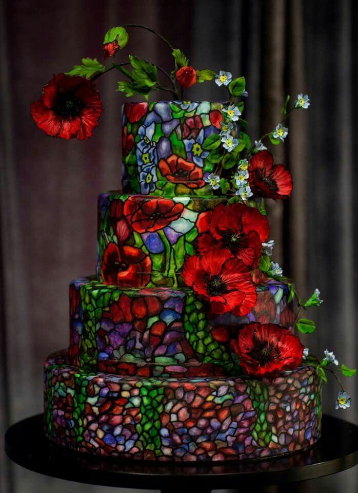Stained glass styled caked, very nice for a garden style wedding