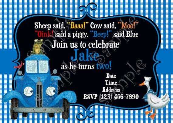 Little Blue Truck Invitation Little Blue by 954onlineinvitations