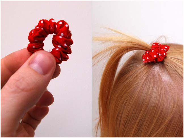"""DIY: Mini Scrunchie  by Sara Lanan      My daughter, """"Peaches"""", is finally letting me put her hair up in clips and ties. I made a simple mini scrunchie that you can make for your mini me.     Materials:        * Elastic      * Fabric      * Scissors      * Needle and thread"""