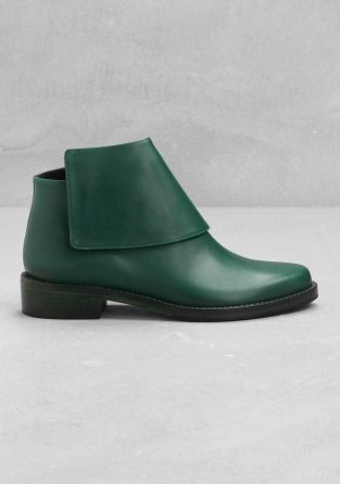 & Other Stories image 1 of Low heel ankle boots in Green Bluish Dark