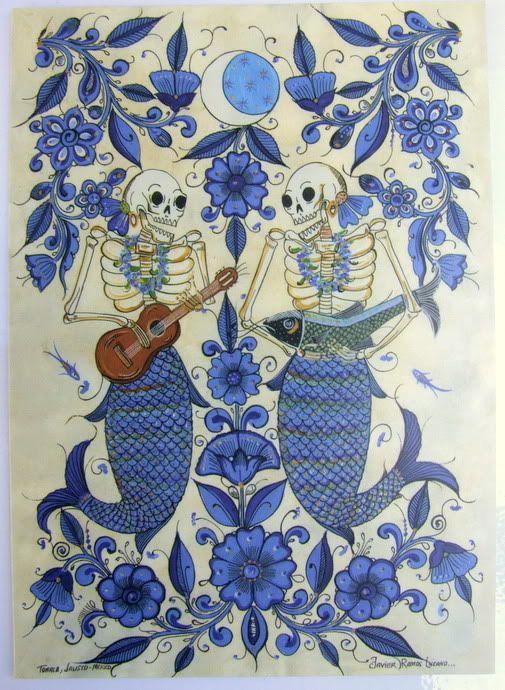 'Dos Sirenas'~Artwork © Javier Ramos Lucano, (Tonala, Mexico) #sirena