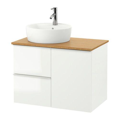 GODMORGON/TOLKEN / TÖRNVIKEN Szafka z umywalką 45 cm - bambus, połysk biały - IKEA