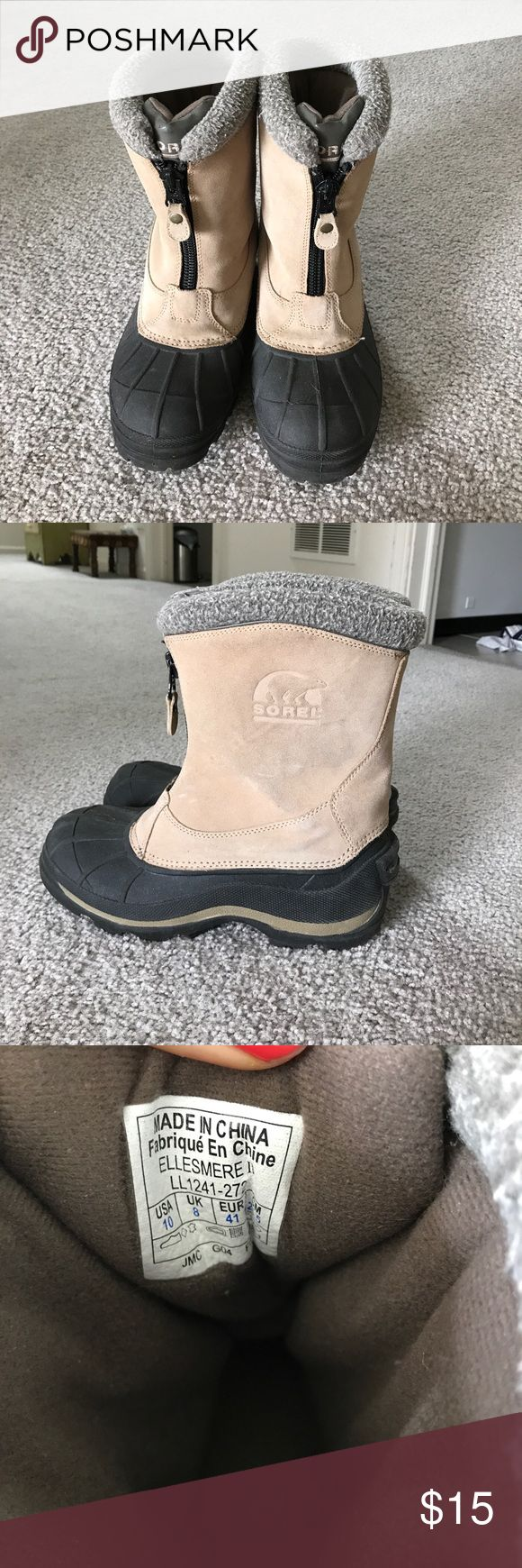 Sorel Winter Boots Good condition with some dirty spots. Zip up. Lightly worn because they were too big for me. Warm! (trust me, I live in Chicago). Great tread on bottom. They are perfect to slip on and go shovel or run some errands! Sorel Shoes Winter & Rain Boots
