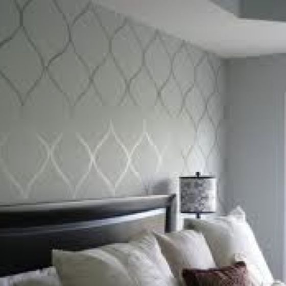 Living Room Wall Design: High Gloss Paint Design Over Flat Paint Walls (same Color