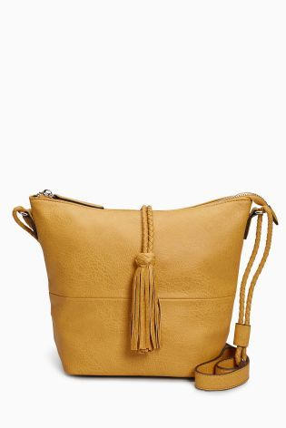 Ochre Tassel Bucket Bag
