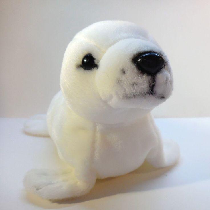 White Seal Pup plush small stuffed beanbag animal toy, 2000 K & M International  #KMInternational