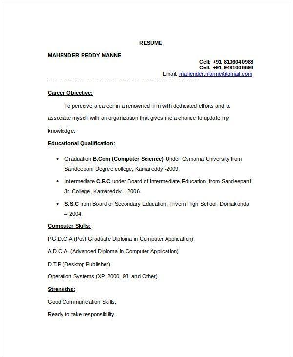 Resume Templates Computer Science Informatik Vorlagen Lebenslauf