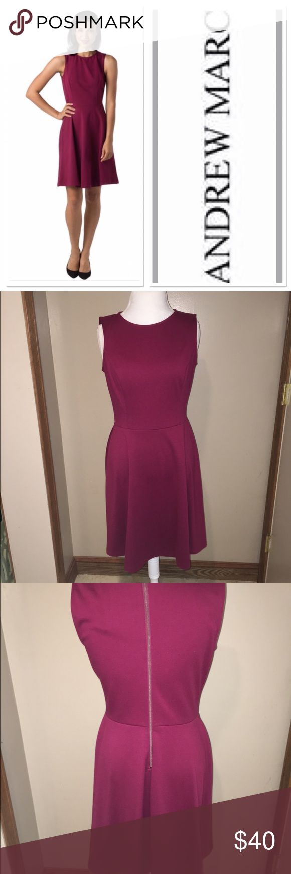 Andrew Marc Maroon Dress Size 10 beautiful Andrew Marc dress zipper in the back slimming waist line in perfect condition Andrew Marc Dresses Midi