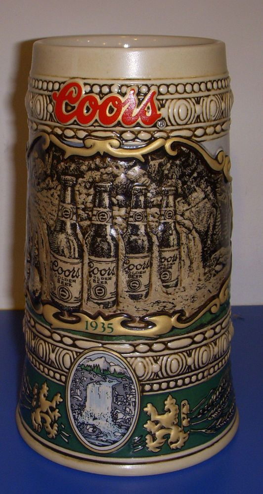 Coors Beer Mug Stein 1990 Edition With 1935 Brewery Site 30011 Brazil Waterfall