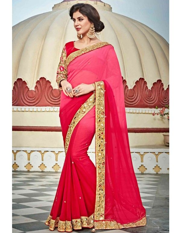 Exclusive Red and Pink #Saree