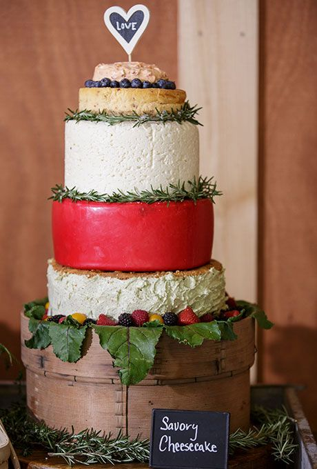 Brides.com: . A five-tiered savory cake made of assorted cheeses, created by Cabbage Patch Restaurant and Catering.