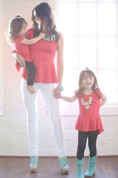 Mommy and Me Peplum Coral Top Ryleigh Rue Clothing... Kids line of Modern Vintage Boutique