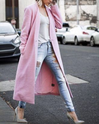 ripped jeans + pink coat
