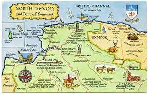 Postcard map of North Devon and part of Somerset