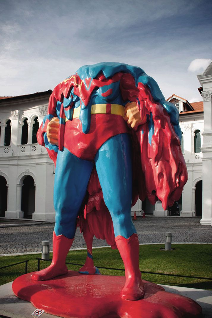 ''Nobody can save us...'' by Steve Lawler (Mojoko) and Eric Foenander. (2012) The Melting Superman was a response to the title of the 2012 show Future Proof set in Singapore Art Museum.