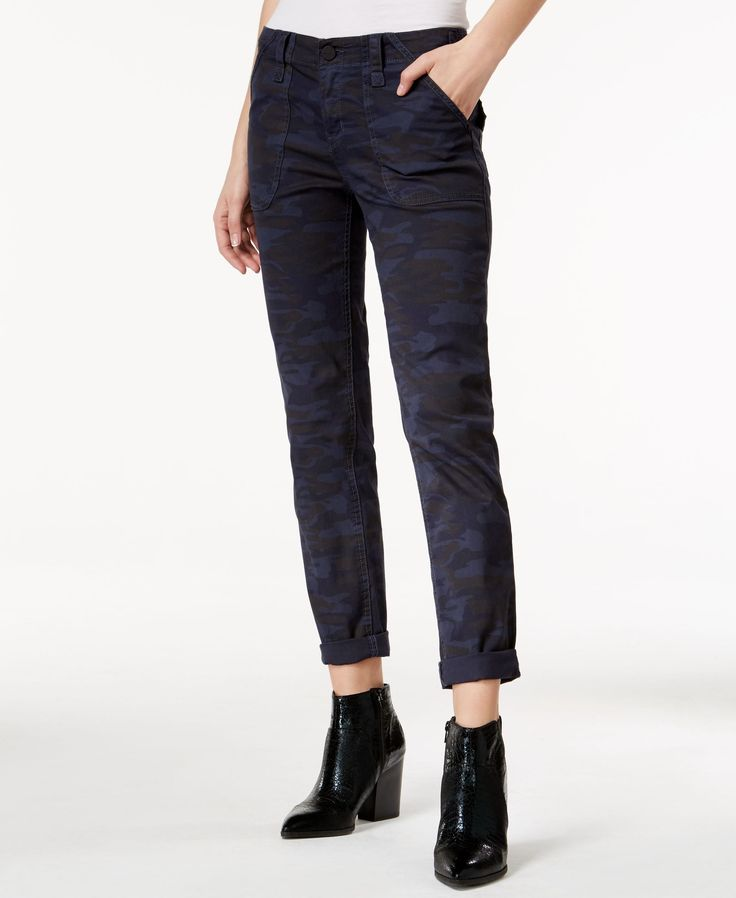 Sanctuary Camouflage Print Pants in blue.  (Bought them from Lord&Taylor for $14 less than Macy's sales price!) #StitchFix, would like to pair this with a print top or a white top with lace or eyelet accents.