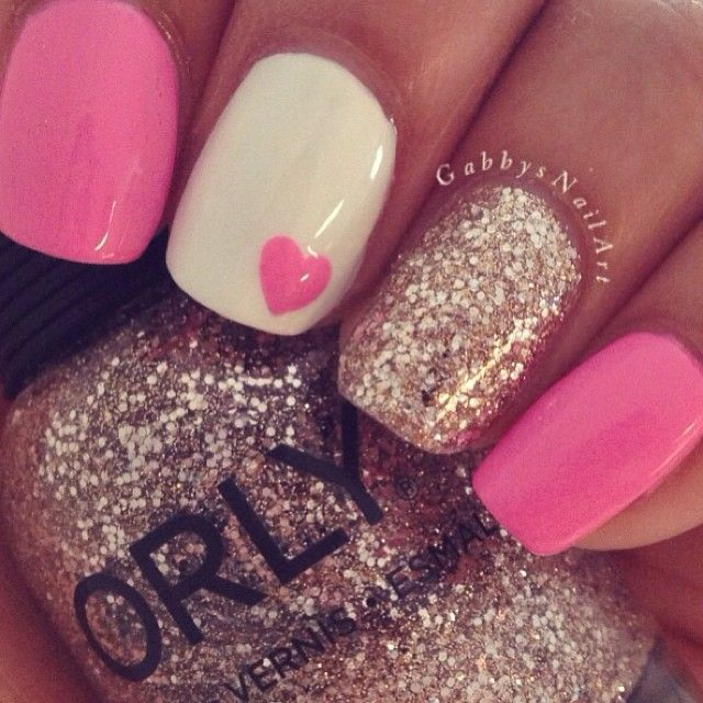 pink w glitter and a heart love nails hair. Black Bedroom Furniture Sets. Home Design Ideas