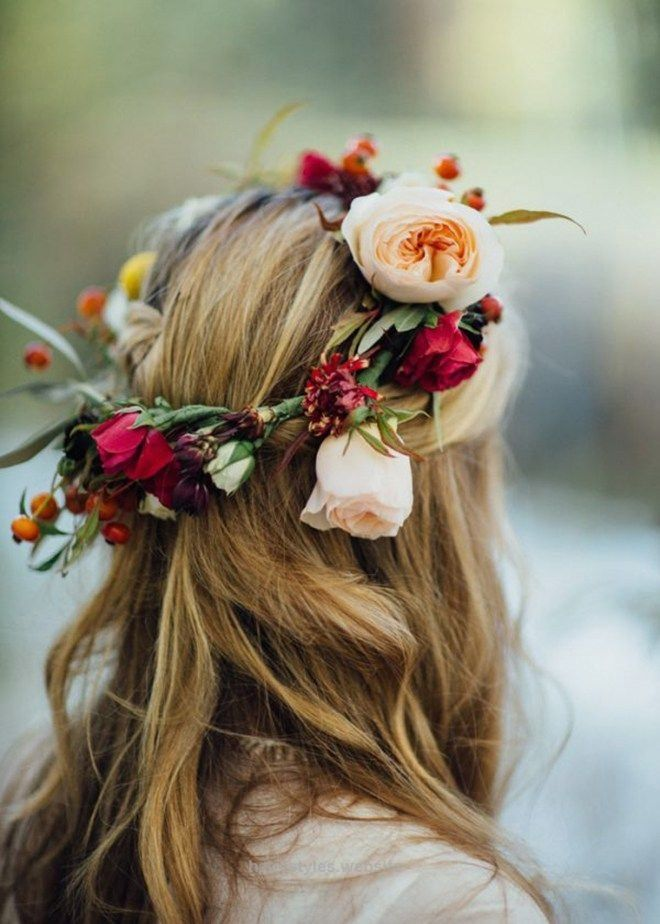 Splendid Boho, bright flower crown is perfect for a winder wedding.  The post  Boho, bright flower crown is perfect for a winder wedding….  appeared first on  Haircuts and Hairstyles .