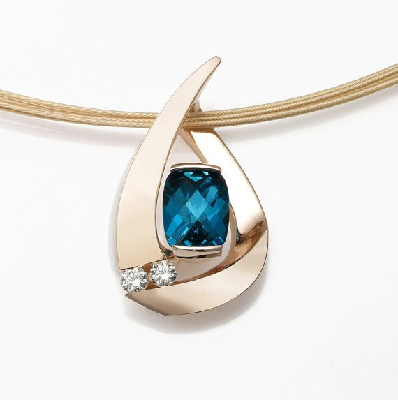 14k gold, London blue topaz and diamond pendant designed by David Worcester for VerbenaPlaceJewelry.Etsy.com