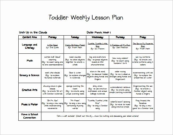 40 Toddler Lesson Plan Template Lesson Plan Template Free