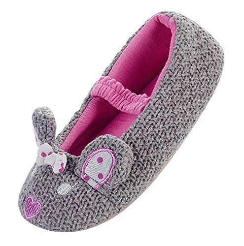 cool LA PLAGE Girls' Cute Knited Antiskid Warm Cartoon Ballerina House  Slippers (Toddler/