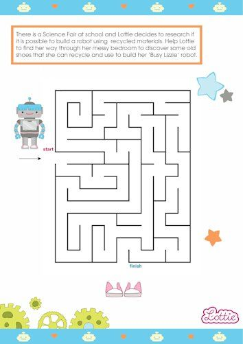 Robot Girl and Busy Lizzie the Robot Lottie doll maze game for kids #free #printables Download at www.lottie.com/create/