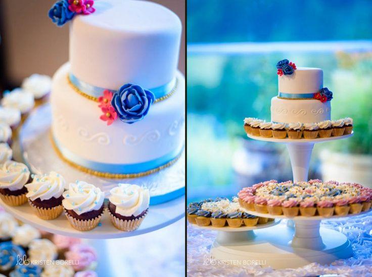 White and Blue Wedding Cake (Kristen Borelli Photography, Pakistani Wedding, Vancouver Island Wedding Photography, Victoria Wedding Photography, Nanaimo Wedding Photography, Prince George Wedding Photography)
