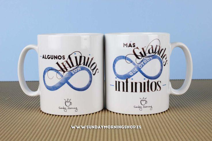 """Set de tazas """"Algunos infinitos son más grandes que otros infinitos"""" – Sunday Morning Shop"""