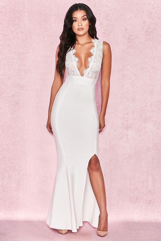 8c4954fdf1 HOUSE OF CB 'Balere' White Bandage and Lace Maxi Dress M 10 / 12 MA 087 # fashion #clothing #shoes #accessories #womensclothing #dresses #ad (ebay  link)