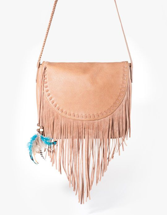 Messenger bag with fringing and feather detail - BAGS - Stradivarius United Kingdom