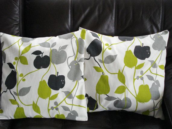 Throw Pillows green gray grey black apples and pears two 16 inch fruit cushion covers