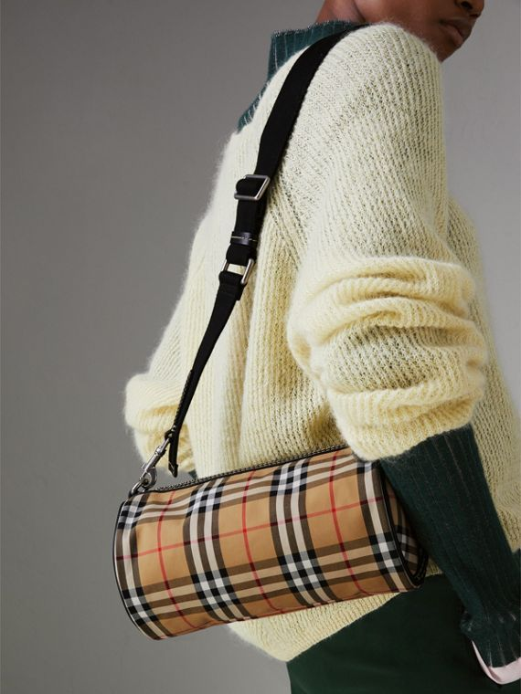 84f447d0ac The Small Vintage Check and Leather Barrel Bag by #Burberry - A cylindrical  bag in our archive-inspired Vintage check with topstitched leather trims