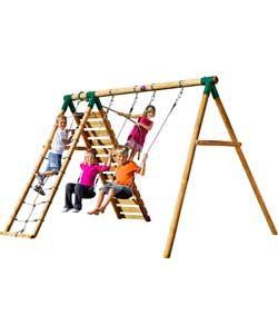 Luxury Plum Uakari Wooden Garden Swing Set with Climbing Frame