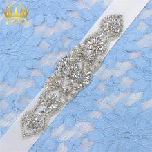 (1piece)Handmade Bling Iron Sew On Hot Fix Beaded Sliver Crystal Bridal Appliques for Wedding Dresses DIY Belt Headbands Garters(China (Mainland))