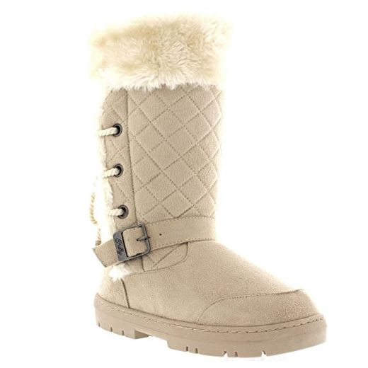 Damen Roap Lace Back Tall Pelz Gefüttert Schnalle Winter Schnee Regen Stiefel - Beige - BEI41 AEA0385 - Stiefel für frauen (*Partner-Link)
