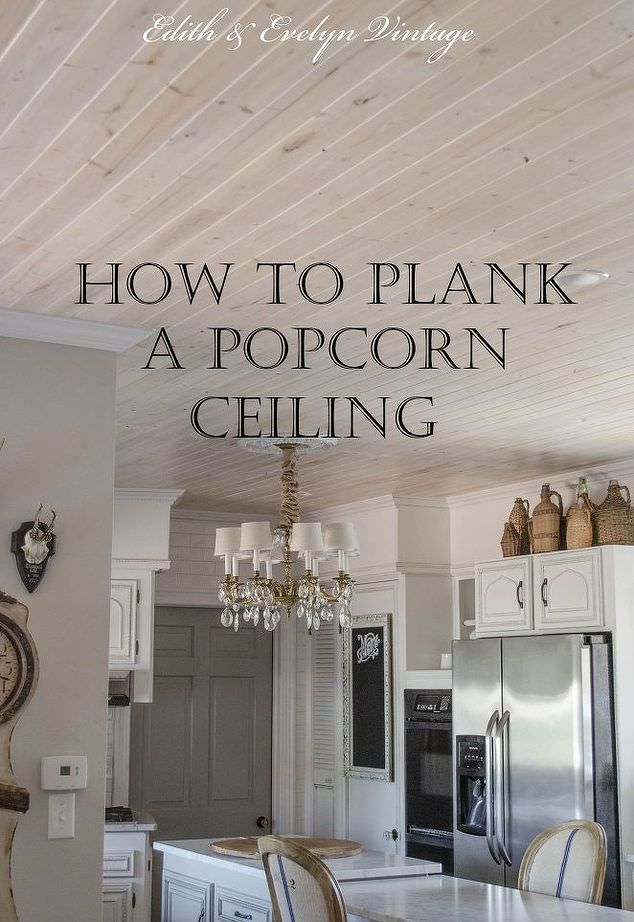 Every room has the ugly popcorn ceilings. We have scraped some, but this time we decided to plank over the top of the popcorn!
