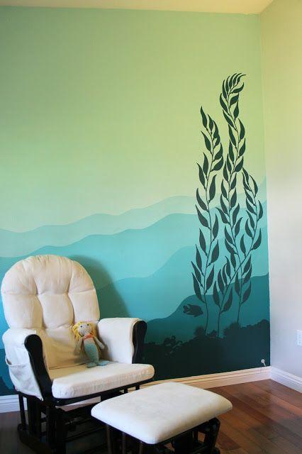 my underwater kelp forest mural on the nursery wall | Anderson Homestead