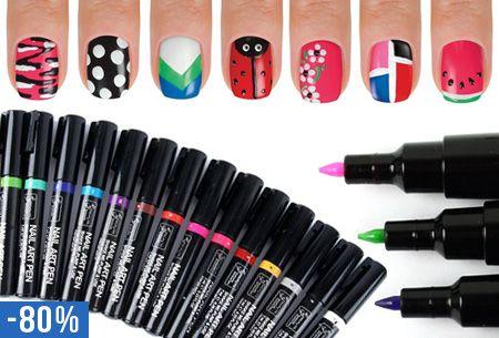 Nail Art pennen in 16 kleuren nu slechts €2,95 per stuk | Maak eenvoudig de mooiste creaties op je nagels! #creatief #nagels #versieren