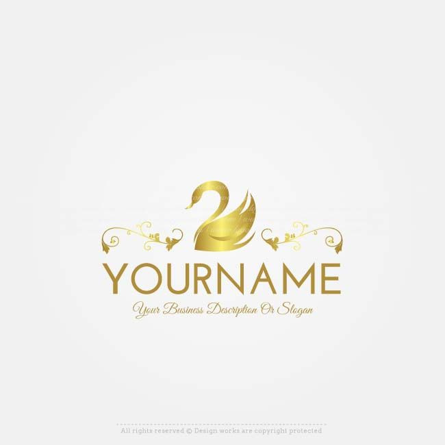 Ready made Golden Swan logo design for sale. Make a logo online, Use our free logo maker to change your business name, colors, fonts, text & more.