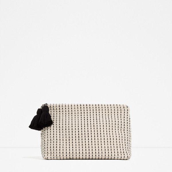 Zara Fabric Clutch ($40) ❤ liked on Polyvore featuring bags, handbags, clutches, ecru, zara purse, white handbags, white clutches, white purse and zara handbags