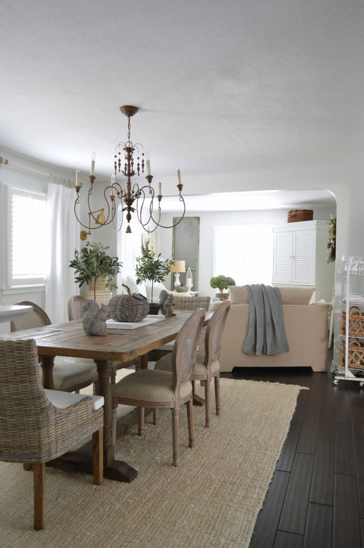 French Farmhouse Chandelier Trestle Table Cane Dining Chairs From HomeGoods White And Neutral Room Fox Hollow Cottage Blog