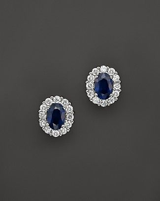 Blue Sapphire and Diamond Oval Stud Earrings in 14K White Gold – 100% Exclusive