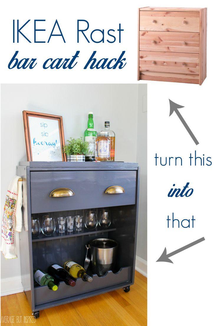 Transform a plain IKEA Rast dresser into a fun bar cart with this tutorial!                                                                                                                                                                                 More