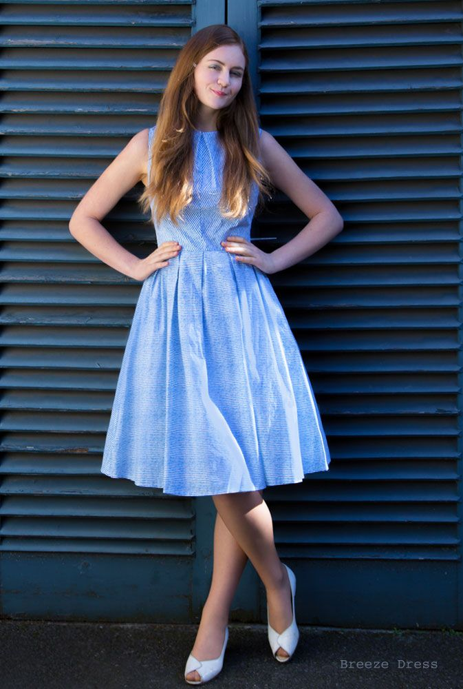 Weekend Doll | Breeze Dress  A blue and white pin stripe dress
