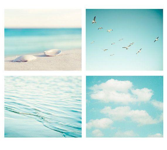 Beach Photography Set – aqua blue print ocean seashore coastal wall art seashells clouds water sea photo – Four 11×14, 8×10, 5×5 Photograph – Manu Namreh