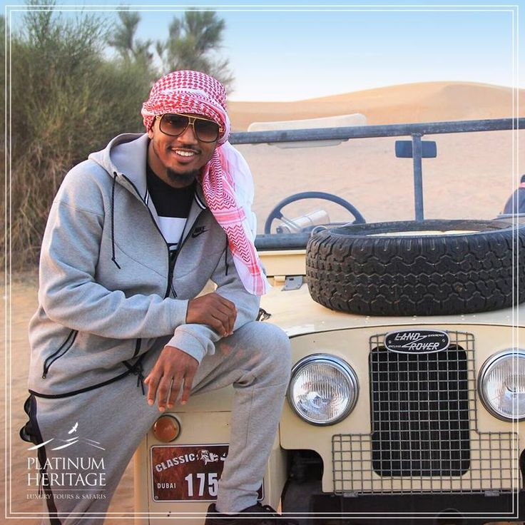 Trey Songz, the famous American singer & songwriter, chose Platinum Heritage for his desert safari tour and cruised around the dunes in our authentic Land Rovers. #PlatinumHeritage
