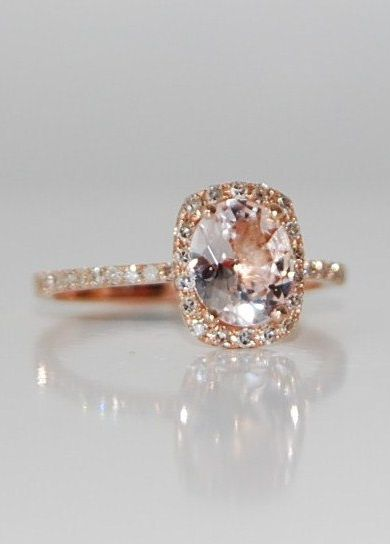 Peach Champagne Diamond Engagement Ring . This is gorgeous and I LOVE the thin band with diamonds. Perfect if it was emerald cut!!